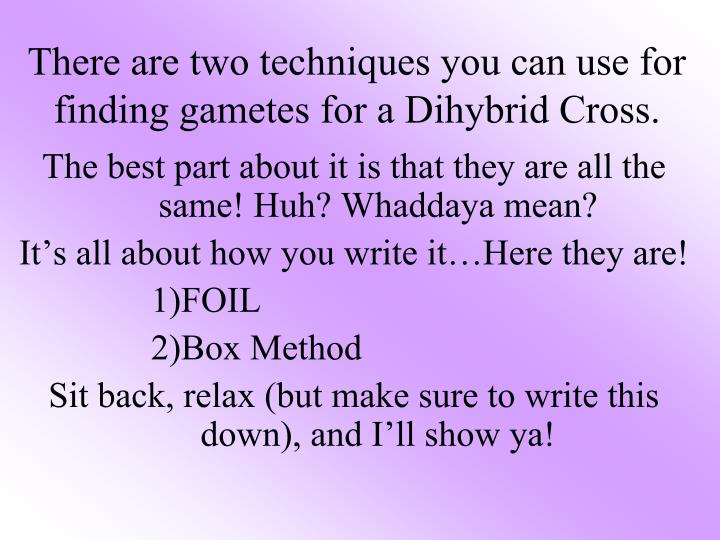 There are two techniques you can use for finding gametes for a dihybrid cross