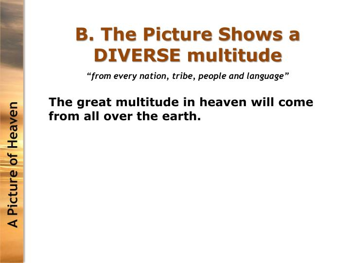 B. The Picture Shows a DIVERSE multitude