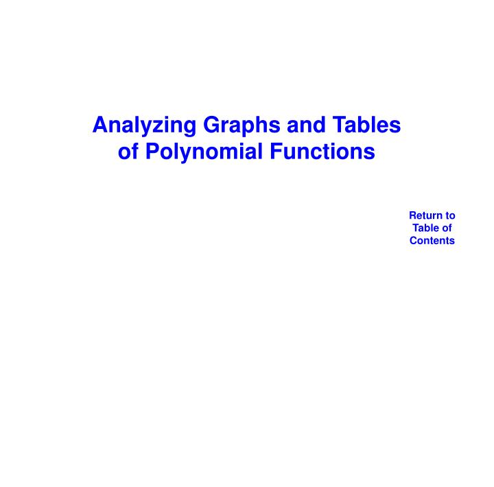 Analyzing Graphs and Tables