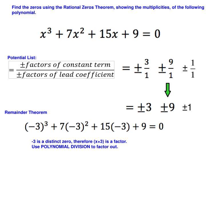 Find the zeros using the Rational Zeros Theorem, showing the multiplicities, of the following polynomial.