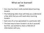 what we ve learned joe