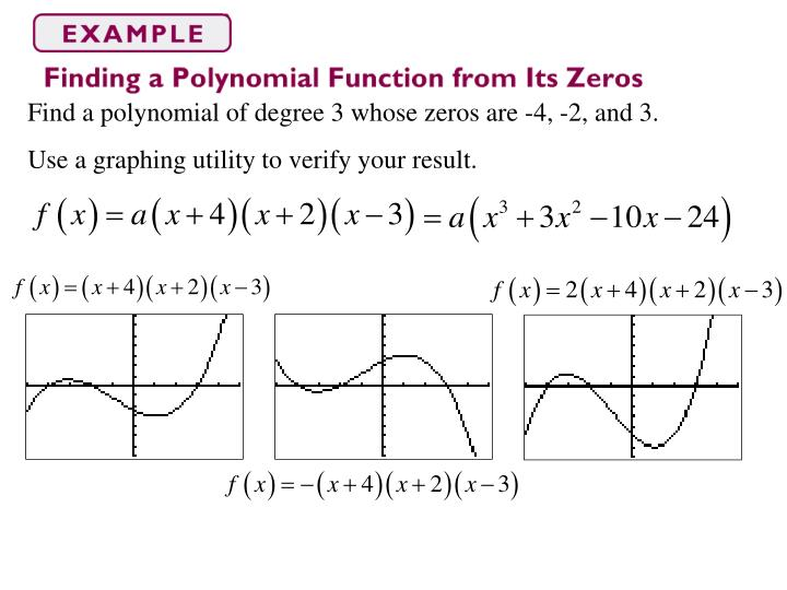 Find a polynomial of degree 3 whose zeros are -4, -2, and 3.