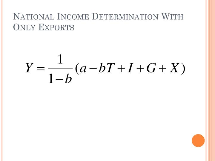 National Income Determination With Only Exports
