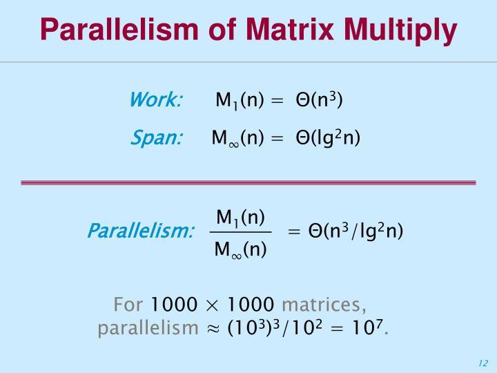 Parallelism of Matrix Multiply
