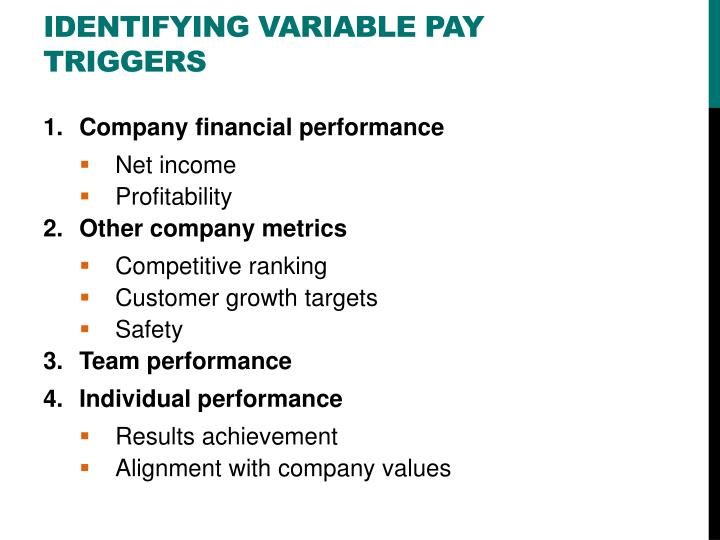 Identifying variable pay triggers