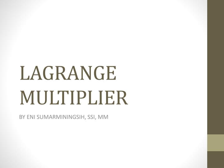lagrange multiplier n.