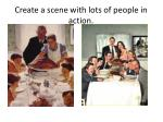 create a scene with lots of people in action