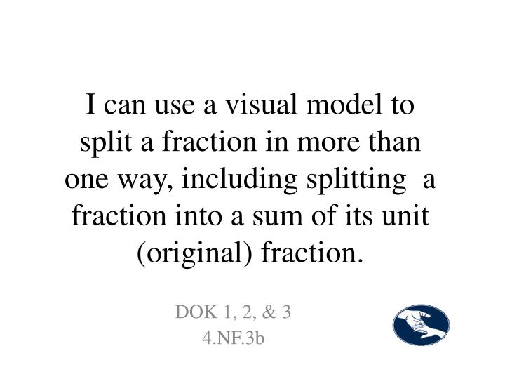 I can use a visual model to split a fraction in more than one way, including splitting  a fraction into a sum of its unit (original) fraction.
