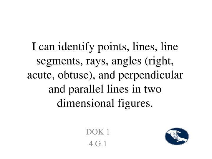 I can identify points, lines, line segments, rays, angles (right, acute, obtuse), and perpendicular and parallel lines in two dimensional figures.