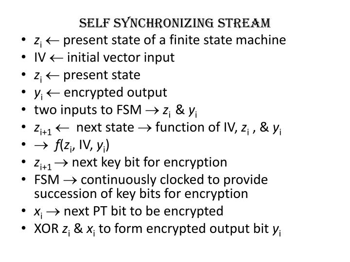 self synchronizing stream