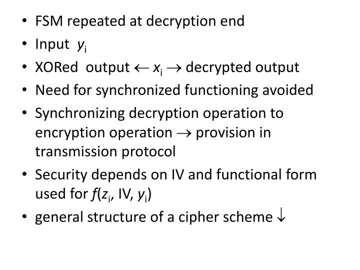 FSM repeated at decryption end