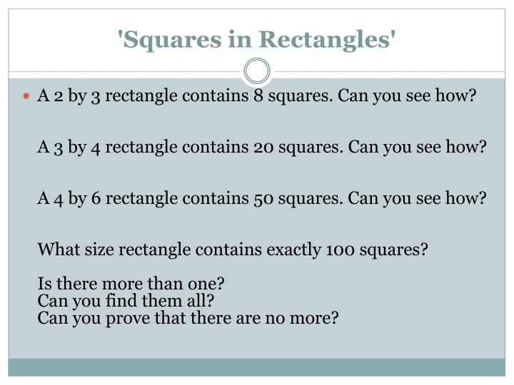 'Squares in Rectangles'