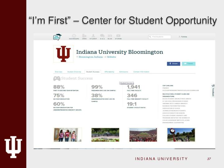 """I'm First"" – Center for Student Opportunity"
