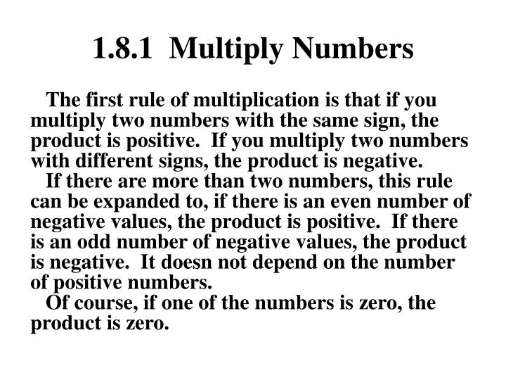 1 8 1 multiply numbers