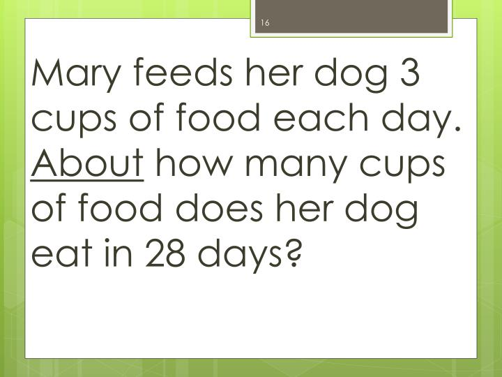 Mary feeds her dog 3 cups of food each day.