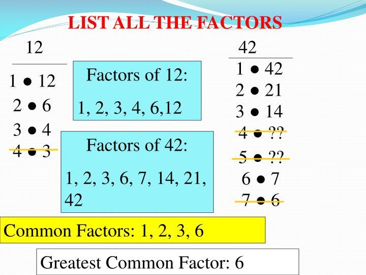 List all the factors