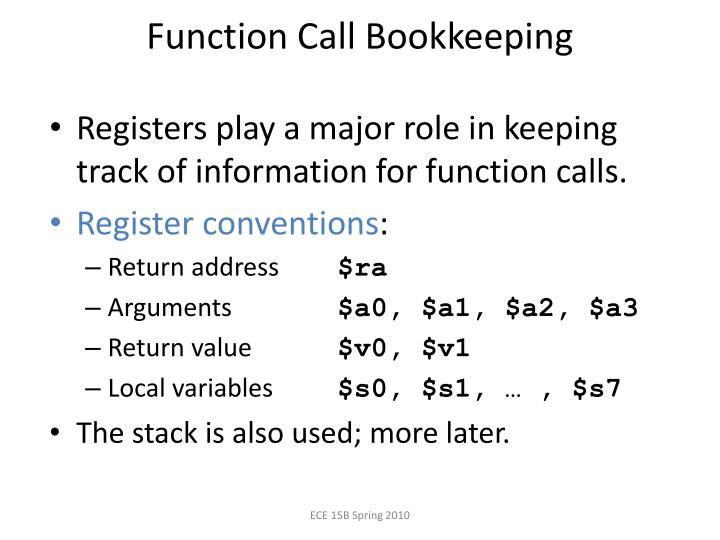 Function Call Bookkeeping