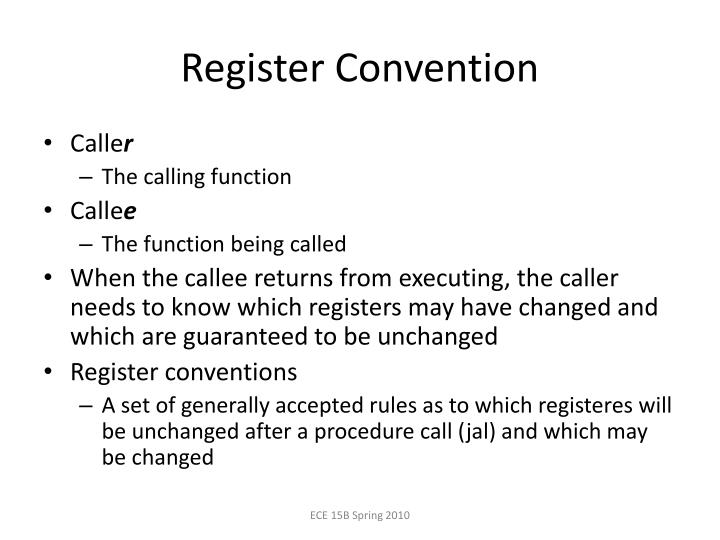 Register Convention