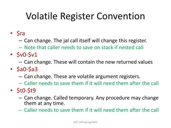 Volatile Register Convention