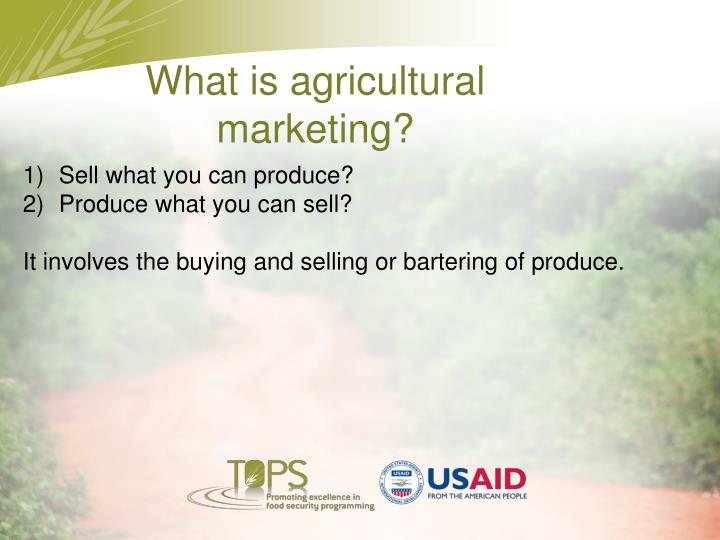 What is agricultural marketing?