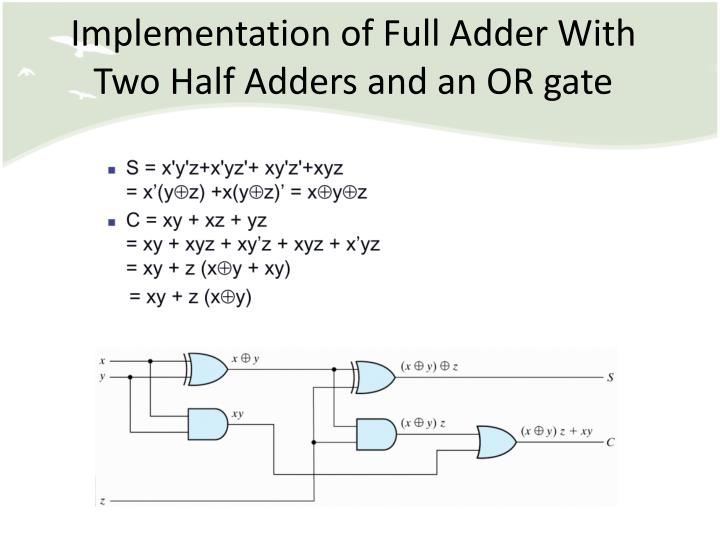 Implementation of Full Adder With Two Half Adders and an OR gate