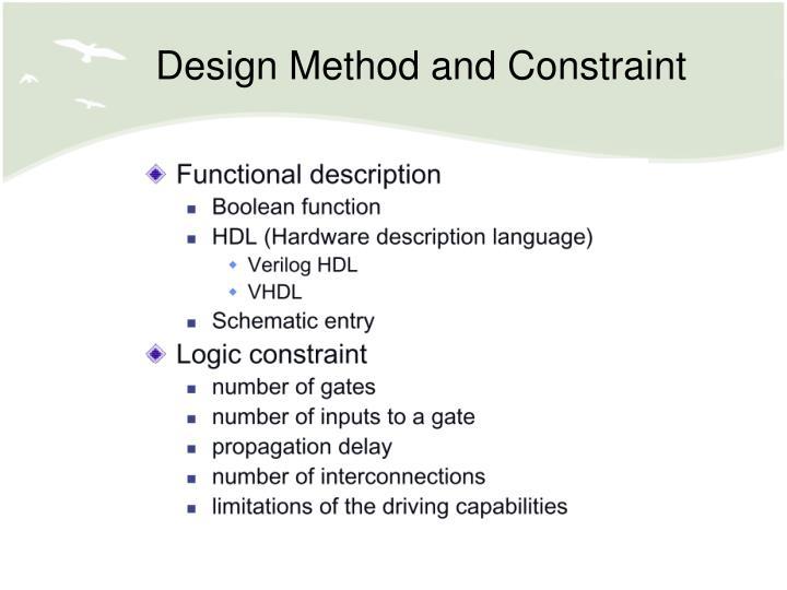 Design Method and Constraint