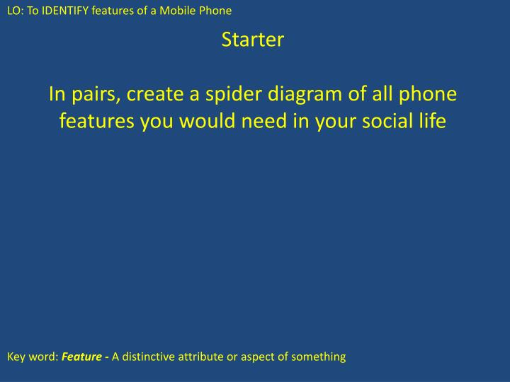 Ppt starter in pairs create a spider diagram of all phone in pairs create a spider diagram of all phone features you would need in your social life ccuart Choice Image