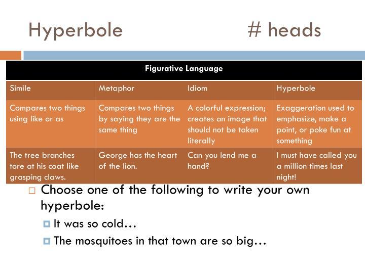 Hyperbole# heads