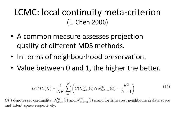 LCMC: local continuity meta-criterion