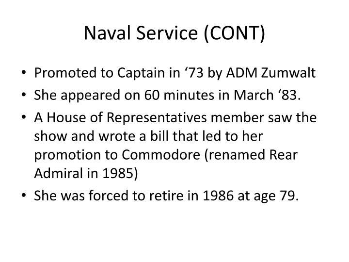 Naval Service (CONT)