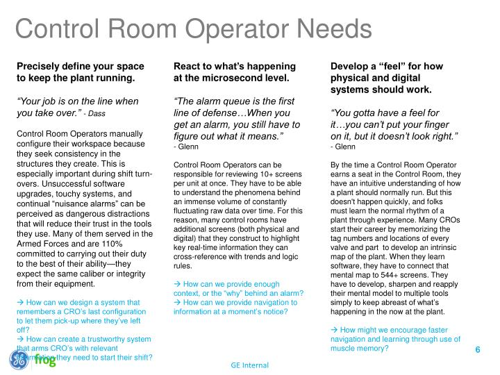 Control Room Operator Needs