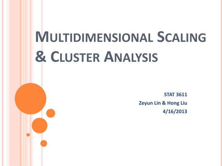 multidimensional scaling cluster analysis n.
