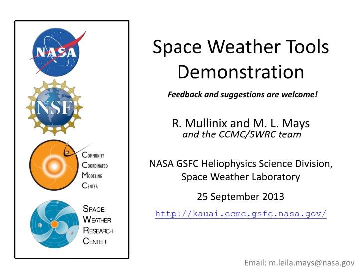 Space Weather Tools Demonstration