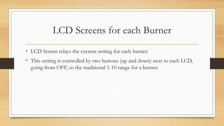 LCD Screens for each Burner