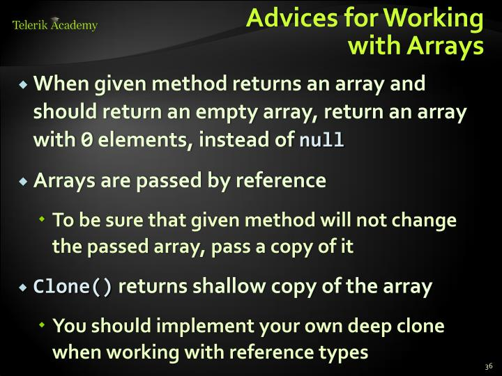 Advices for Working
