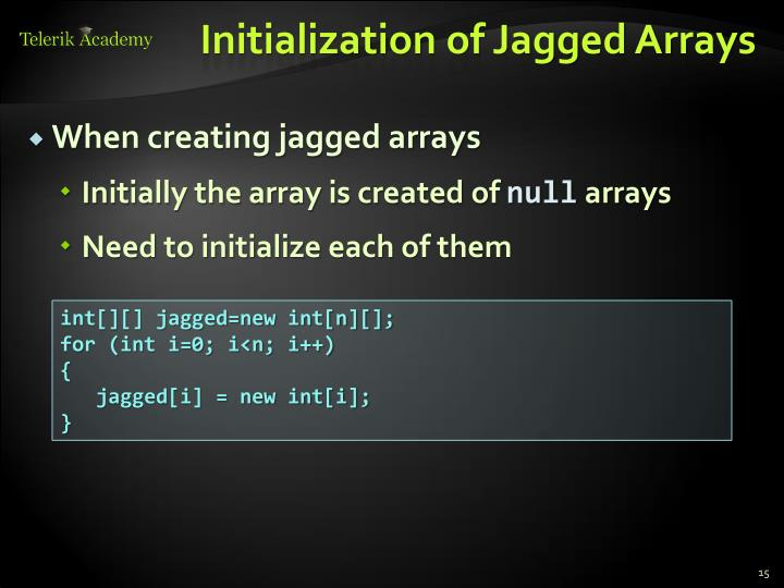 Initialization of Jagged Arrays