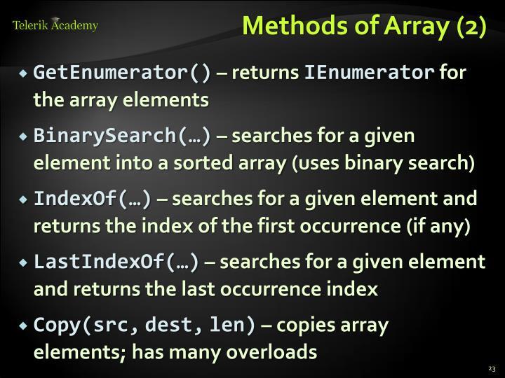Methods of Array