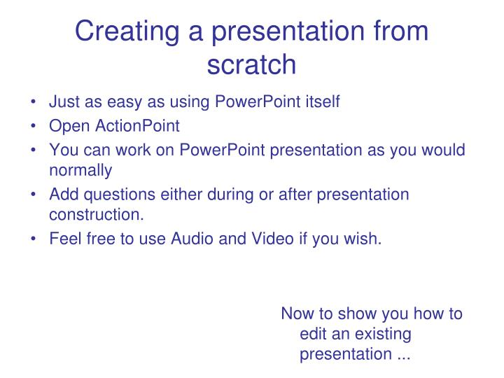Creating a presentation from scratch