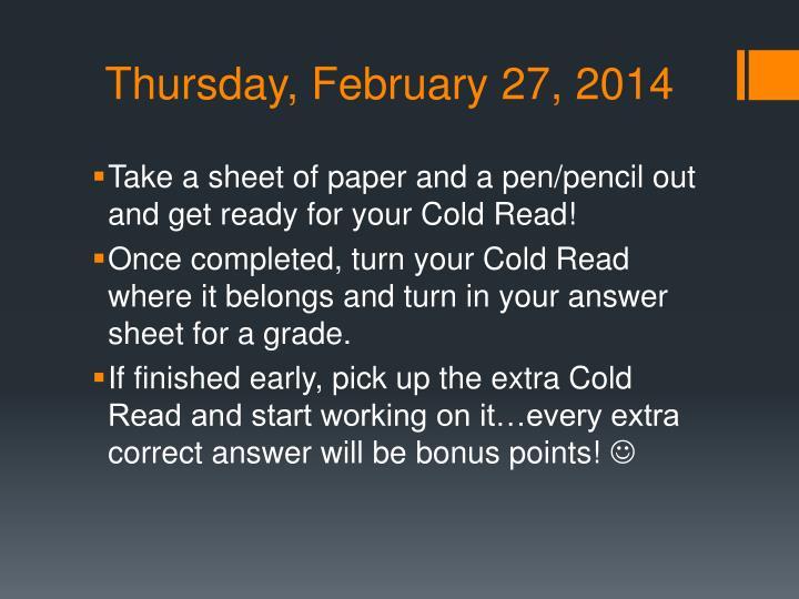 Thursday, February