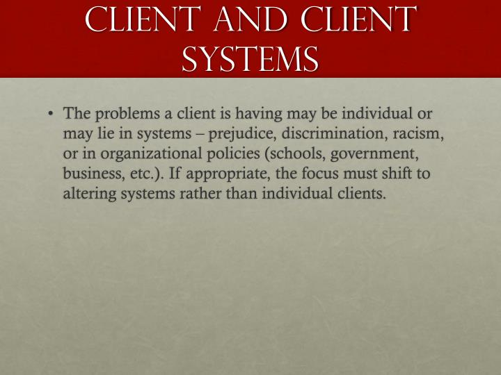 Client and client systems