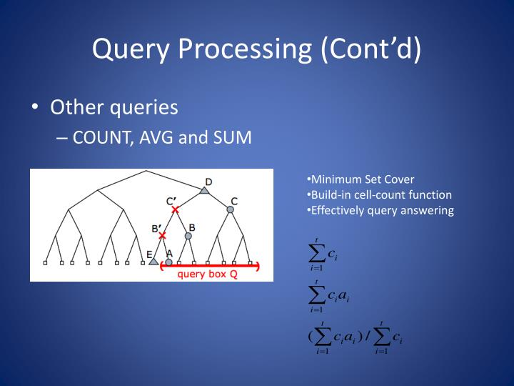 Query Processing (Cont'd)
