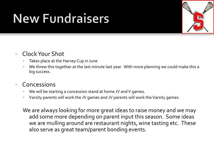 New Fundraisers