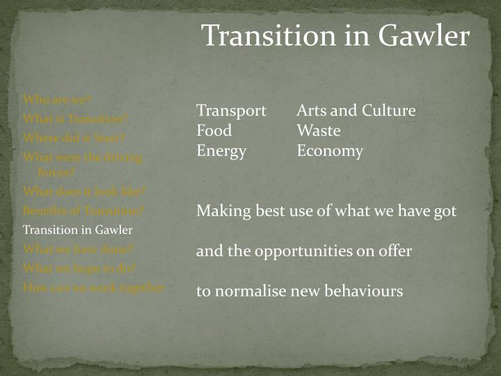 Transition in Gawler