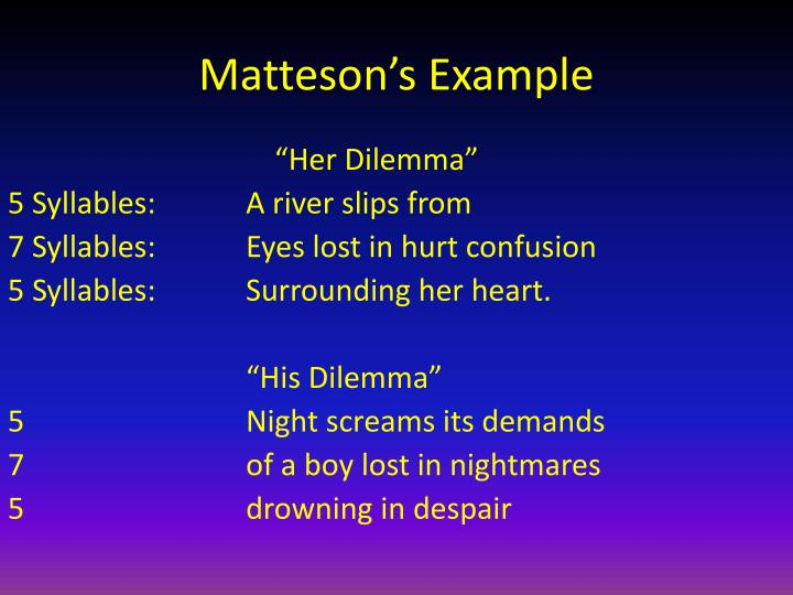 Matteson's Example