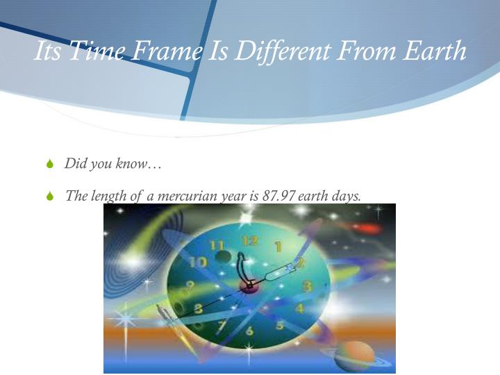 Its time frame is different from earth