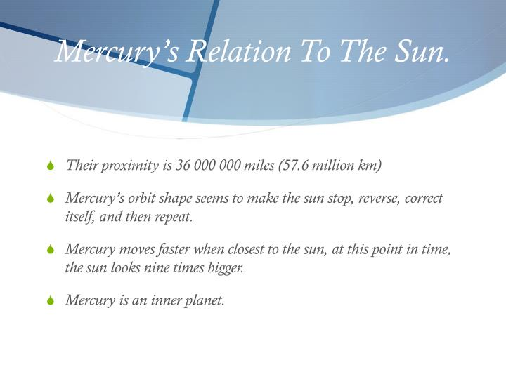 Mercury's Relation To The Sun.