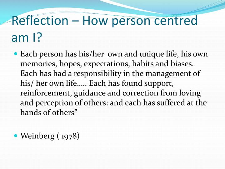 Reflection – How person centred am I?