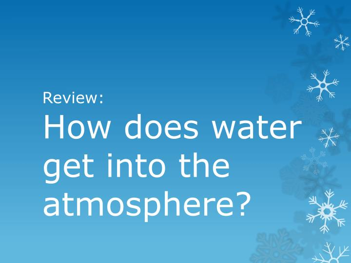 Review how does water get into the atmosphere
