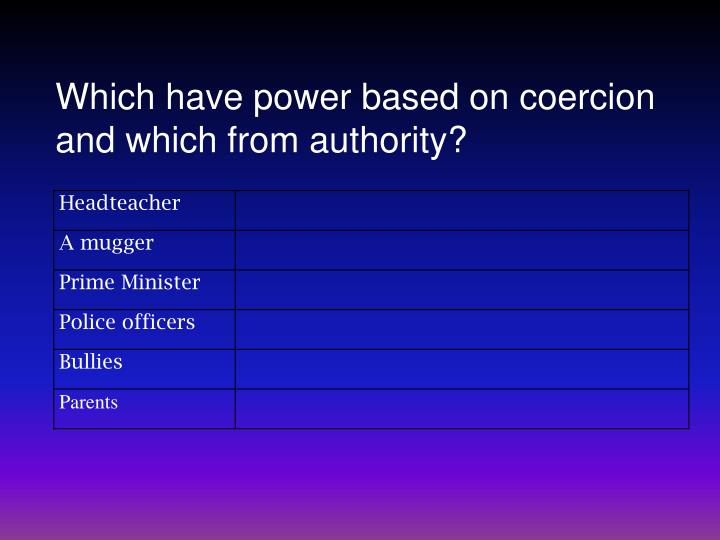 Which have power based on coercion and which from authority?