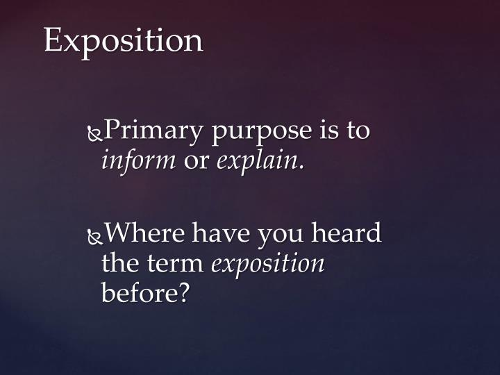 Primary purpose is to